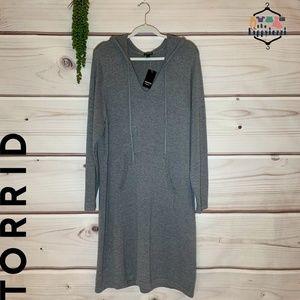 NWT TORRID Grey Hooded Sweater Dress Size 4